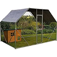 FeelGoodUK Galvanised Chicken Cage, 2mx 3m x 2m Roof Cover Included