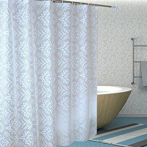HM&DX Wasserdichter duschvorhang mit Ringe, Antischimmel Singt Badvorhänge Jacquard für Bad Hotel-Weiß 180cmx80cm (71''x32'') (Jacquard-bad)