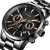 Herren Uhren Luxus Marke LIGE Wasserdicht Edelstahl Runde Sport Chronograph Analog Quarzuhr Mnner Schwarz Klassisch Business Armbanduhr