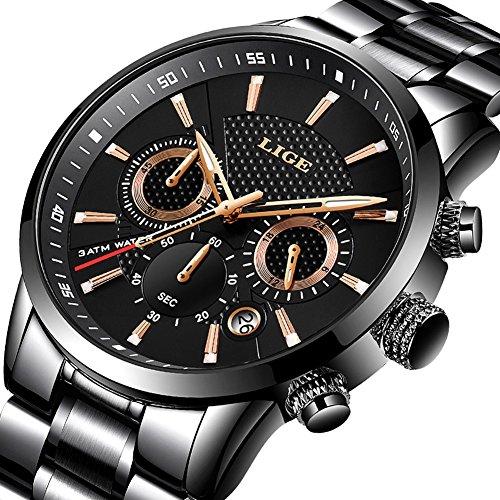 Lige orologi da uomo impermeabile sport acciaio inossidabile analogico al quarzo orologio nero moda rotondo classico cronografo