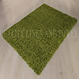 """Shaggy Rug Lime Green 963 Plain 5cm Thick Soft Pile 60cm x 110cm (2ft x 3ft 7"""") Modern 100% Berclon Twist Fibre Non-Shed Polyproylene Heat Set - AVAILABLE IN 6 SIZES by Quality Linen and Towels"""