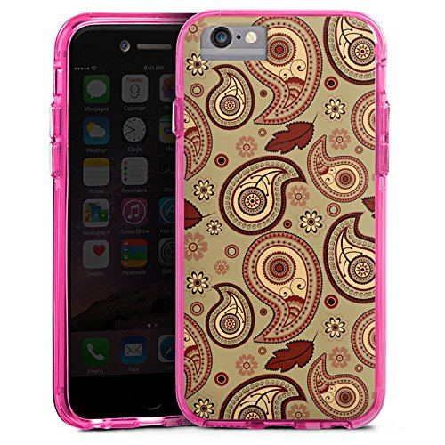 Apple iPhone 6 Plus Bumper Hülle Bumper Case Glitzer Hülle Herbst Autumn Pattern Bumper Case transparent pink