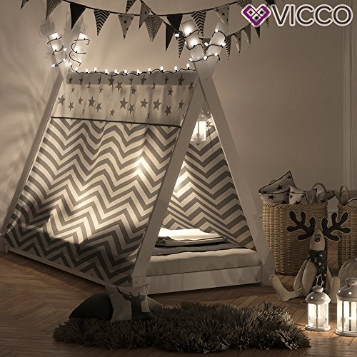 VICCO Kinderbett TIPI Kinderhaus Indianer Zelt Bett Kinder Holz Haus Schlafen Spielbett Hausbett 90x200 (weiß) - 6
