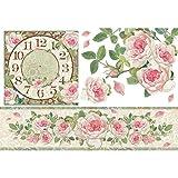 Reispapier 48x33cm - Clock with roses. Motiv-Strohseide, Strohseidenpapier, Decoupage Papier