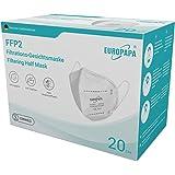 EUROPAPA 20x FFP2 Atemschutzmaske 5-Lagen Staubschutzmasken hygienisch einzelverpackt CE Stelle zertifiziert Mundschutzmaske