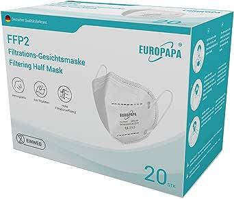 EUROPAPA 20x Mini FFP2 Maske Model S in Kleiner Größe Mundschutz Masken Atemschutzmasken 5-lagig hygienisch einzelverpackt