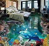 Kuamai 3D Bodenfliesen Benutzerdefinierte Tapete Wohnzimmer Stock Die Unterwasserwelt 3D Boden Malerei Fototapete Vinylboden Badezimmer-280X200cm