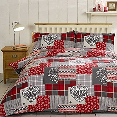 Christmas Patchwork 100% Brushed Cotton Flannelette Heart Quilt Duvet Cover and 2 Pillowcase Bedding Bed Set, Red/Multi-Colour - cheap UK light shop.