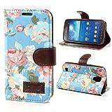 NALIA Klapphülle für Samsung Galaxy S4 Active, Hülle Slim Flip-Case Kunst-Leder Vegan, Etui Schutzhülle Book-Case, Dünne Vorne Hinten Handy-Tasche Wallet Bumper für Samsung S4 Active - Flowers Blau