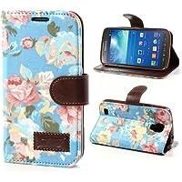 Samsung Galaxy S4 Active Hülle Klapphülle von NICA, Slim Flip-Case Kunst-Leder Vegan, Etui Schutzhülle Book-Case, Dünne Vorne Hinten Handy-Tasche Wallet Bumper für Samsung S4 Active - Flowers Blau