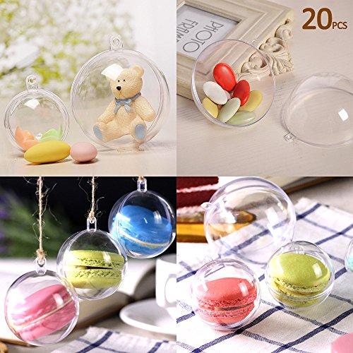 20 x palline per albero di natale, decorazioni natalizie, palline di plastica trasparenti ornamenti albero natale, 10 cm
