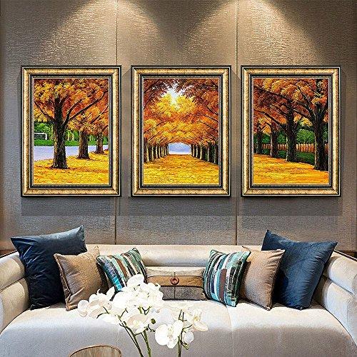 GCCI Wohnzimmer Dekoration Malerei Sofa Hintergrund Wand Malerei Malerei Garten Restaurant Wohnzimmer Dreifach Malerei Gerahmte Wandmalereien,D,54 * 74CM
