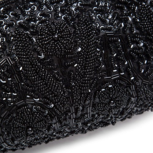 Lifewish Frauen Abendtasche Perlen Sequin Design Metallrahmen Kissing Lock Satin Interieur Abend Clutch Schwarz