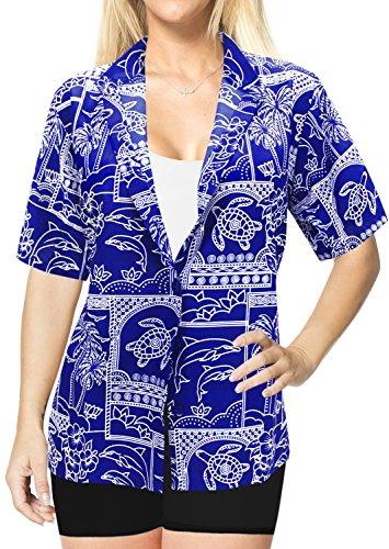 Botn-Hasta-Blusas-de-Manga-Corta-Para-Mujer-Camisa-Hawaiana-de-La-Playa-del-Traje-de-Bao-Azul-Real