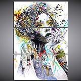 XDXART 3 Panels Home Decor Bilder Gedruckt auf Leinwand, Dekor Kunst - Schönes Mädchen Muster Wand Kunst Ölgemälde Gedruckt Bilder (Ohne Holzrahmen) (12x24inchx3pcs)
