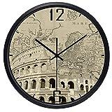OLILEIO El mundo marca el reloj de la zona horaria del reloj del vestíbulo Lugares de interés mundial Mapa de Papel Antiguo reloj reloj de cuarzo High-Gr ultra silencioso,Roma Coliseo,China,10 pulgadas