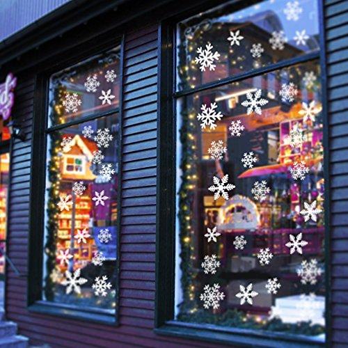 108 Fensterbilder Schneeflocken für Weihnachten Fensterdeko - Statisch Haftende PVC Aufkleber