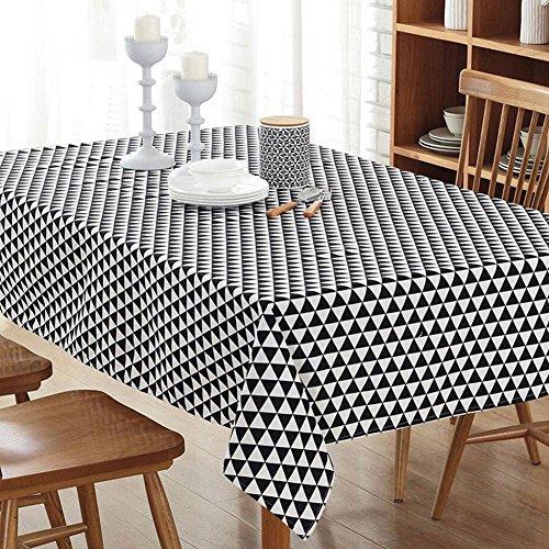 Nappe rectangulaire en lin Coton & lin, résistant aux taches chaud dur restaurant, hôtel, café noir et blanc triangle style (140*200cm)