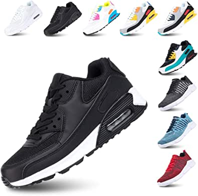 Mens Trainers Women Running Shoes Sport Casual Sneakers Low Top Air Cushion Footwear Waking Fitness Lace up Black Green Pink White Yellow UK3.5-UK12(EU36-EU47)