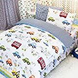 MeMoreCool Home Textile Cute Cartoon Cars Design Upscale 100% Cotton 3 Pieces Bedding Set Soft Quilt Covers for Boys and Girls Cartoon Bed Sheets Twin Size