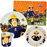 Unbekannt 4 TLG. Geschirrset -  Feuerwehrmann Sam Jones  - incl. Name - Porzellan / Keramik - Trinktasse + Teller + Müslischale + Platzdeckchen - Kindergeschirr - Frü..