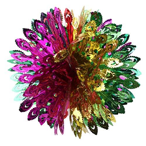 Kingus Glitter Papier Hängende Dekoration Blumen Ball Bright und bunten Ball für Weihnachten Geburtstag Party Hochzeit Baby Shower Dekoration, Phoenix Schwanz