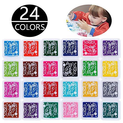 Kany Stempelkissen Set, 24 Farben Stempel Tinte Stamp Pad Stempelkissen Fingerabdruck Fuer Papier Handwerk Stoff,Malerei,Scrapbook