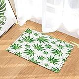 gohebe Floral Blätter Decor Watercolor grün cannabis Sativa Leaf Print Bad Teppiche rutschhemmend Fußmatte Boden Eingänge Innen vorne Fußmatte Kinder Badematte 39,9x 59,9cm Badezimmer Zubehör