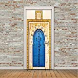 2 Teile/Satz Kreative Blau Eisentor Wandaufkleber DIY Muralpvc Wasserdichte Tür Aufkleber Tapete Schlafzimmer Wohnkultur Poster 77X200 cm