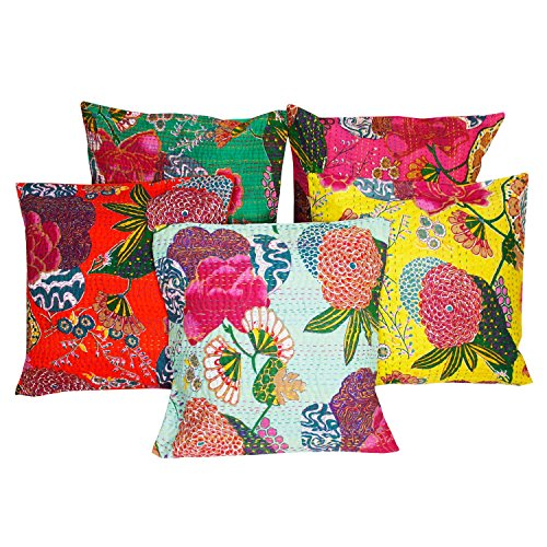 Halowishes Jaipuri Kantha work with Floral work design Cushion Cover 5 Pc. Set - 123