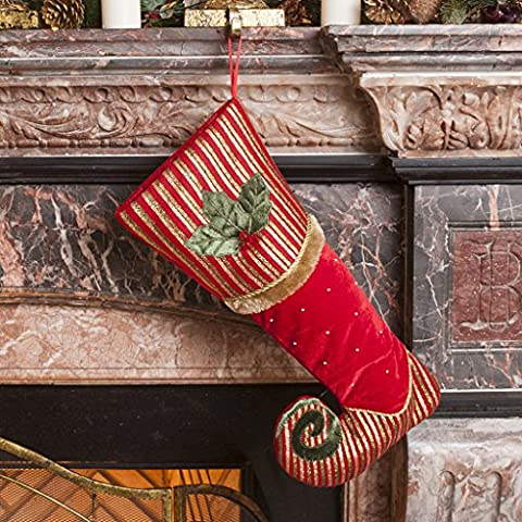 Luxury Elf's Missing Shoe Holly Berry Red With Gold and Green Stripe with Embroidery Detailing Stocking. A Merry Contemporary Festive Addition To Your Hallway, Mantelpiece or Hearth. H 47 x W 22 cm