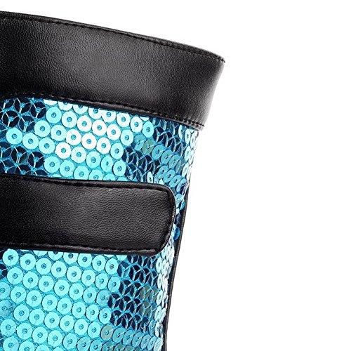 AgooLar Damen Rund Zehe Niedriger Absatz Niedrig-Spitze Gemischte Farbe Stiefel mit Paillette Blau