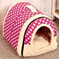 ANPI 2 In 1 Pet House and Sofa, Machine Washable Red Brick/White Star Pattern Non-slip Foldable Soft Warm Dog Cat Puppy Rabbit Pet Nest Cave Bed House with Removable Cushion Detachable Cashmere Mattress, 3 Sizes