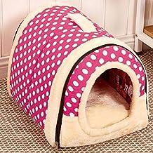 2 en 1 Casa de Mascota y Sofá de Mascotas Habitación Portátil Plegable Nido de Viaje Gatos Multifuncionales y Perros Lavable Casa de Mascotas (M:45cmx35cmx35cm, rosa)
