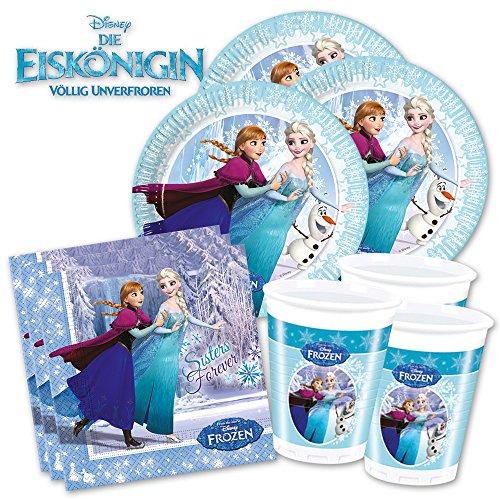 Die Eiskönigin Ice-Skating PartyBox für Mottoparty & Geburtstag - Disney's Frozen Party Deko Set (Basic für 8 Gäste - 36 Teile) - PARTYMARTY GMBH®
