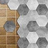 APSOONSELL Fliesenaufkleber Badezimmer für Boden und Wände Wasserdicht Rutschfest Grau Sechseck Fliesen Renovieren o. Fliesenfarbe(Länge: 11,5 cm Durchmesser: 23 cm)10 Teiliges Set