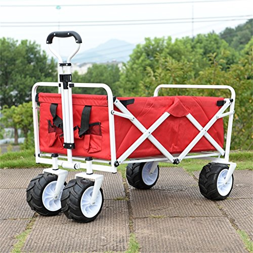 Carro de mano DELLT rojo plegable pequeño carro/carrito de compras Camping de pesca equipaje carro/manejo de carro/carga 68 Kg