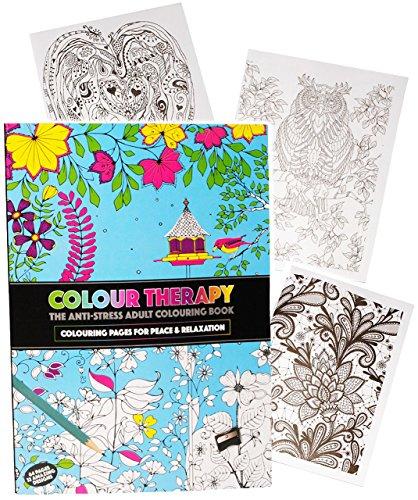 1 Stück _ A4 - großes Malbuch - ' Colour Therapy ' - 64 Seiten - Anti Streß - für Erwachsene &...