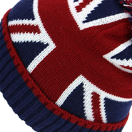 61kugW6Wr4L. SS500  - Macahel Union Jack Bobble Beanie Hat with Super Soft Fleece Lining