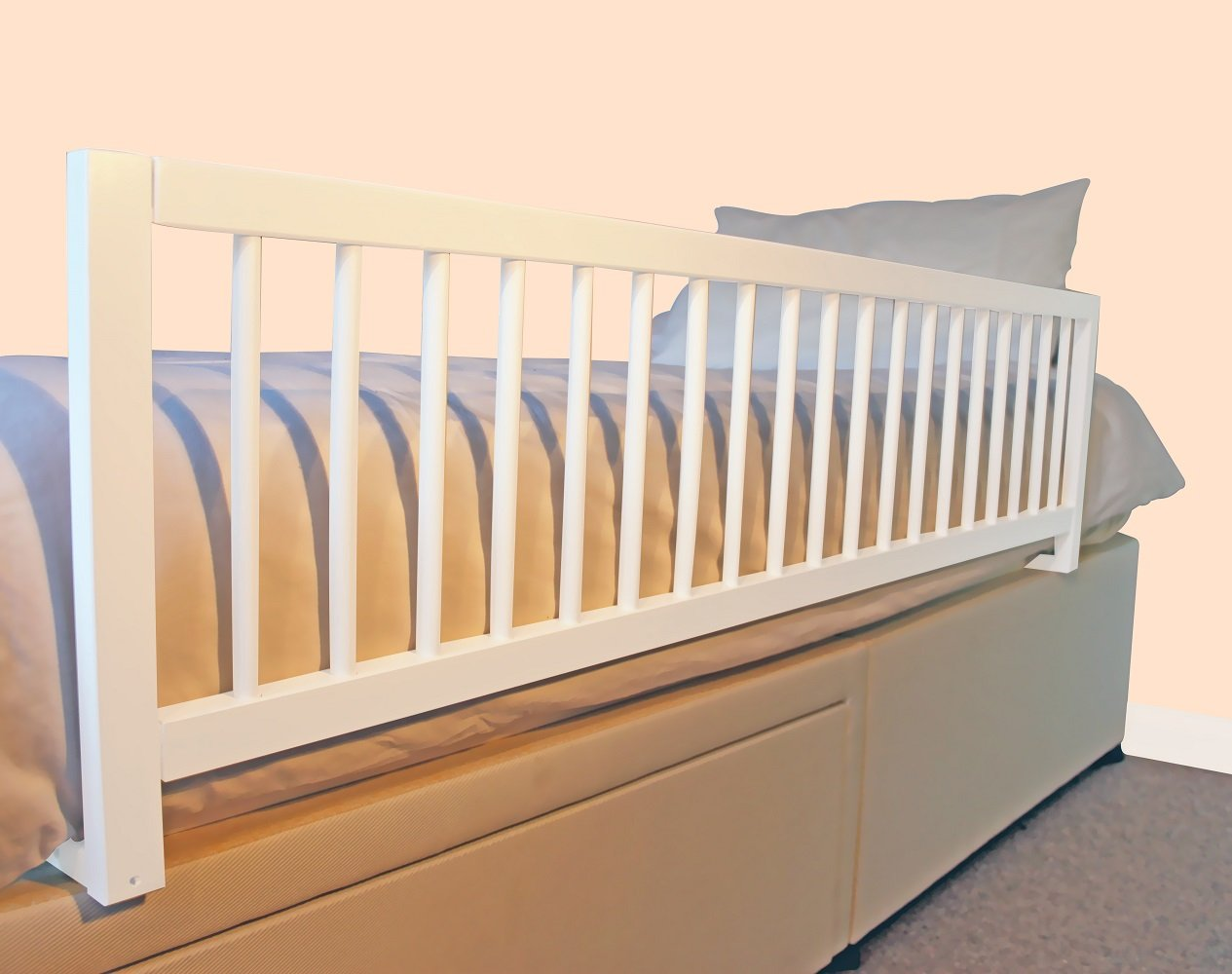 Safetots Extra Wide Wooden Bed Rail White Amazoncouk Baby