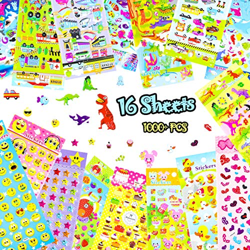 Phogary Kids Stickers 1000+, 16 Different Sheets 3D Puffy Stickers for Kids Girl Boy Birthday Gift, Craft Scrapbooks Card Making Party Bag Fillers, Including Dinosaurs, Cars, Etc