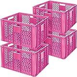 4x Eurobehälter durchbrochen/Bäckerkiste, LxBxH 600 x 400 x 320 mm, pink
