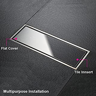 Artbath Linear Tile Insert Shower Drainer Invisible SUS304 Stainless Steel Floor Linear Shower Drain Channel Tile Wetroom Bathroom Drop, 300*100MM
