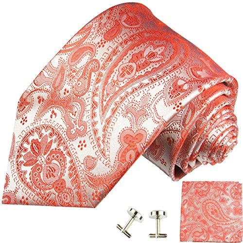 Cravate rouge paisley ensemble de cravate 3 Pièces ( 100% Soie Cravate + Mouchoir + Boutons de manchette )