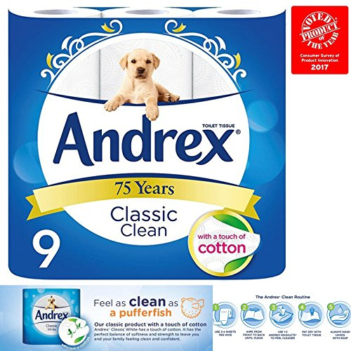 Andrex-Classic-Clean-Toilet-Roll-Multiple-Packs-Tissue-Paper-9-Rolls-2Ply-Cotton