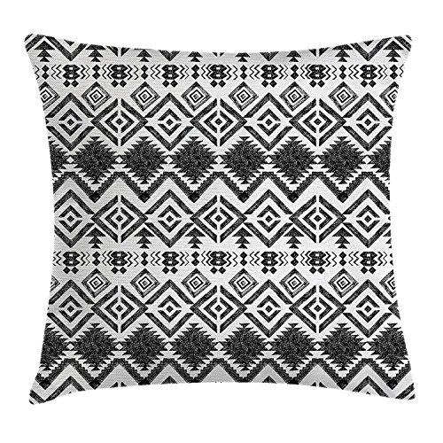 Tribal Decor Werfen Kissenbezug, Hand Drawn Tribal Muster Geometrische und dekorative Aztec Print, Dekorative Quadratisch Accent Kissen Fall, 45,7x 45,7cm, schwarz und - Rot Werfen Muster Decke