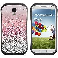 Hypernova Slim Fit Dual Layer Protettiva Custodia Caso Case Per SAMSUNG Galaxy S4 IV / i9500 / i9515 / i9505G / SGH-i337 [Glitter Argento Rosa lucido neve Sparkly Diamante]