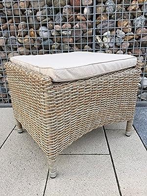 dasmöbelwerk Lounge Hocker MILANO Fußhocker Gartenmöbel Polyrattan Beinauflage Natur Cappuccino von dasmöbelwerk - Gartenmöbel von Du und Dein Garten