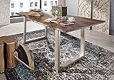 Massiv Esstisch Baumkante Baumtisch Akazie lackiert 200x100x76 grau Beine silber FREEFORM 3 Metall