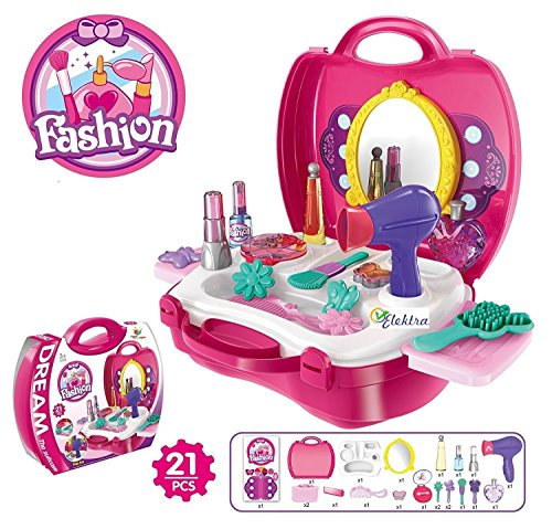 JVM Luxury Battery Operated Portable Kitchen Set for Girls, Pink (Beauty Set)
